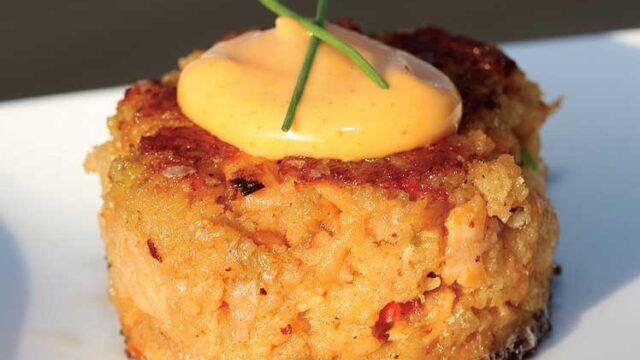 Salmon Cake with Spicy Citrus Aioli