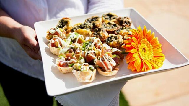 Party Bites Passed at a Garden Wedding