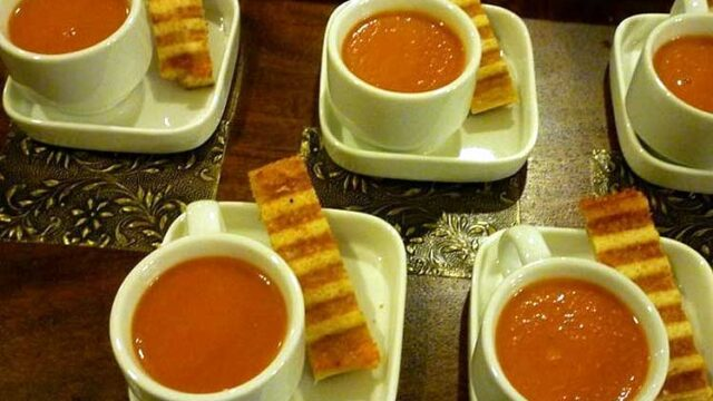 Tomato Bisque Shooters with Grilled Cheese Spears